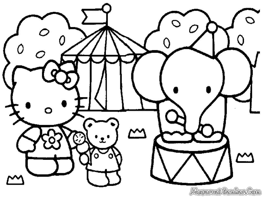 Download Gambar Mewarnai Kartun Hello Kitty Cetak
