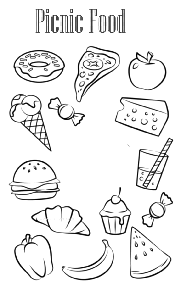 cute food coloring pages to download and print