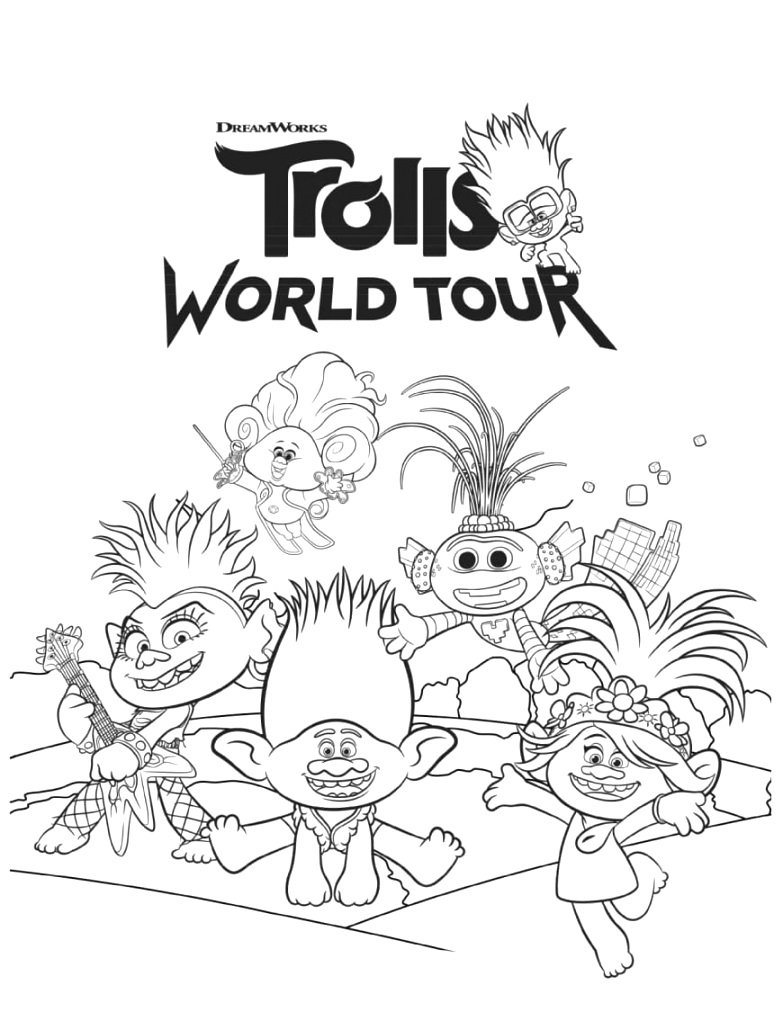 fantastic trolls coloring pages for kids
