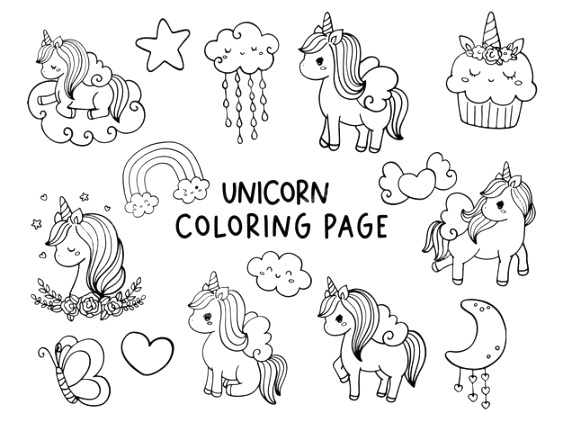 printable unicorn coloring pages for kids of all ages