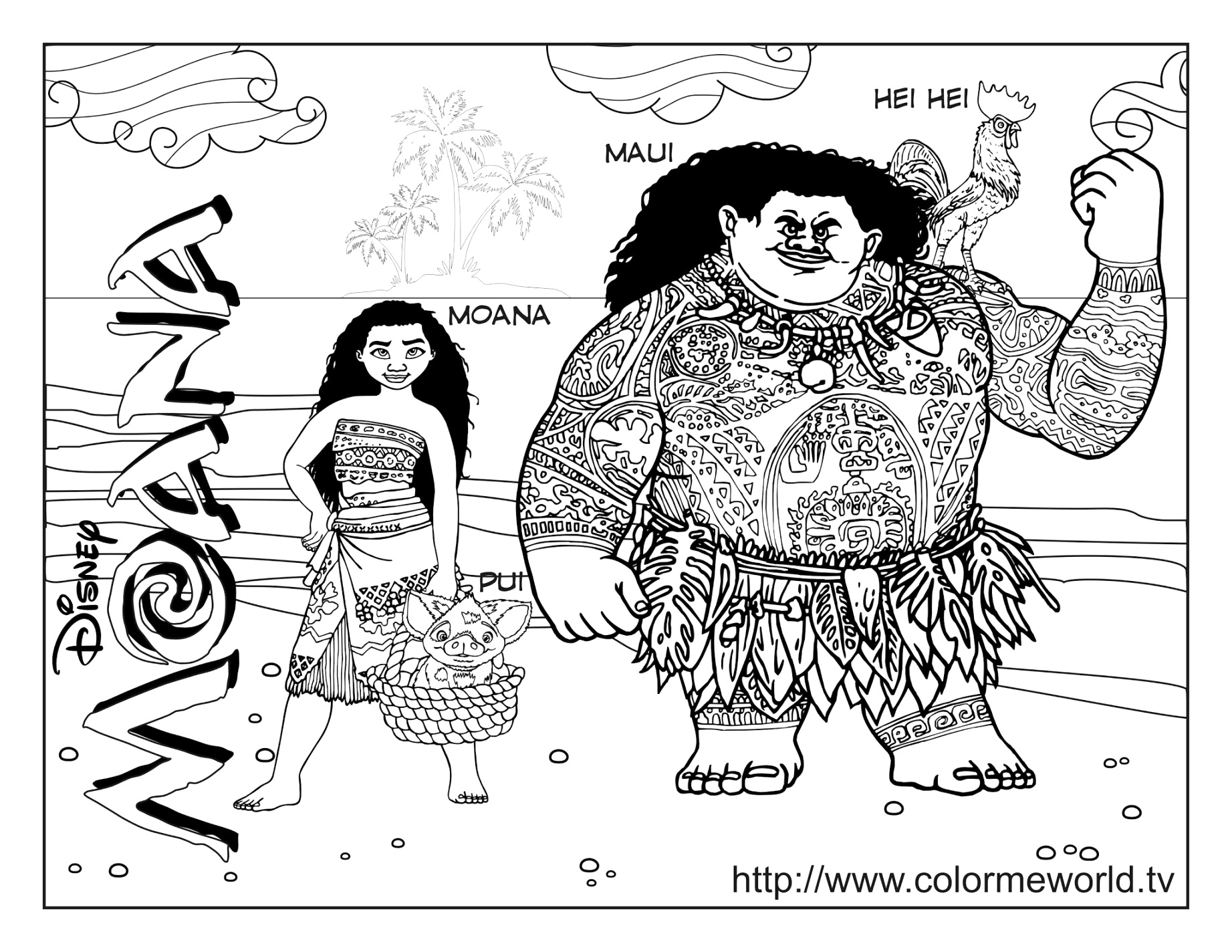 great moana coloring pages free pdf