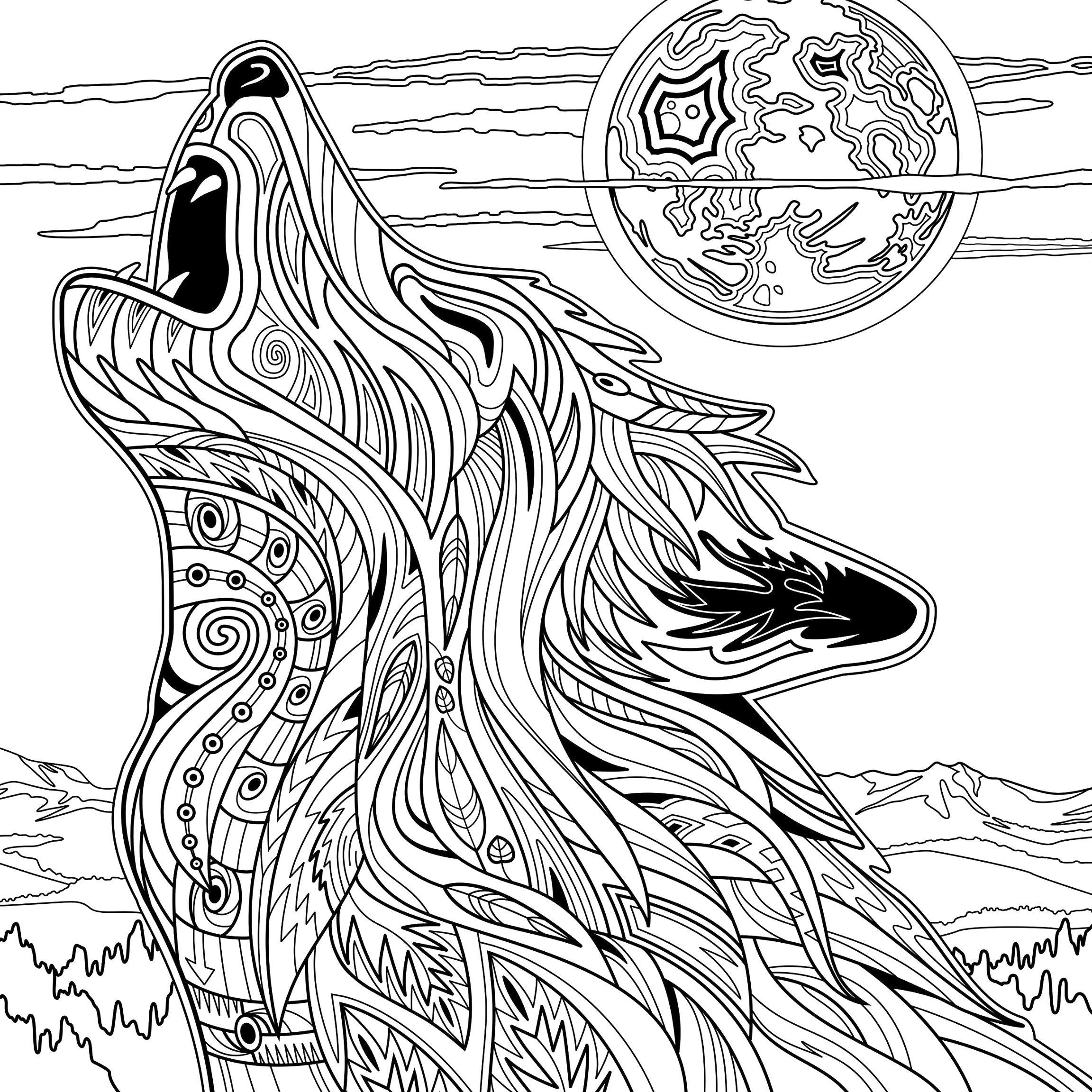 Simply download wolf coloring pages to color up