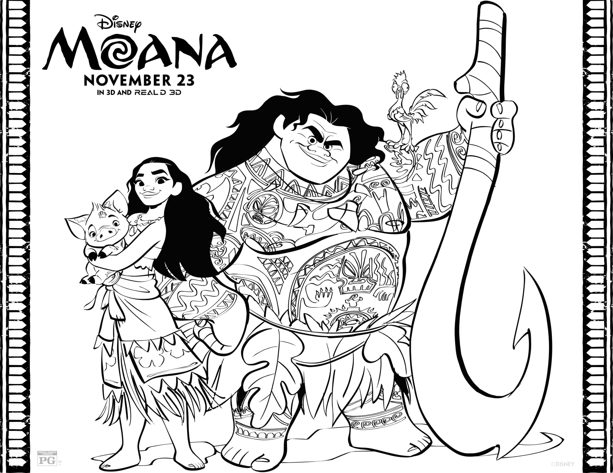 Free online moana coloring pages to print