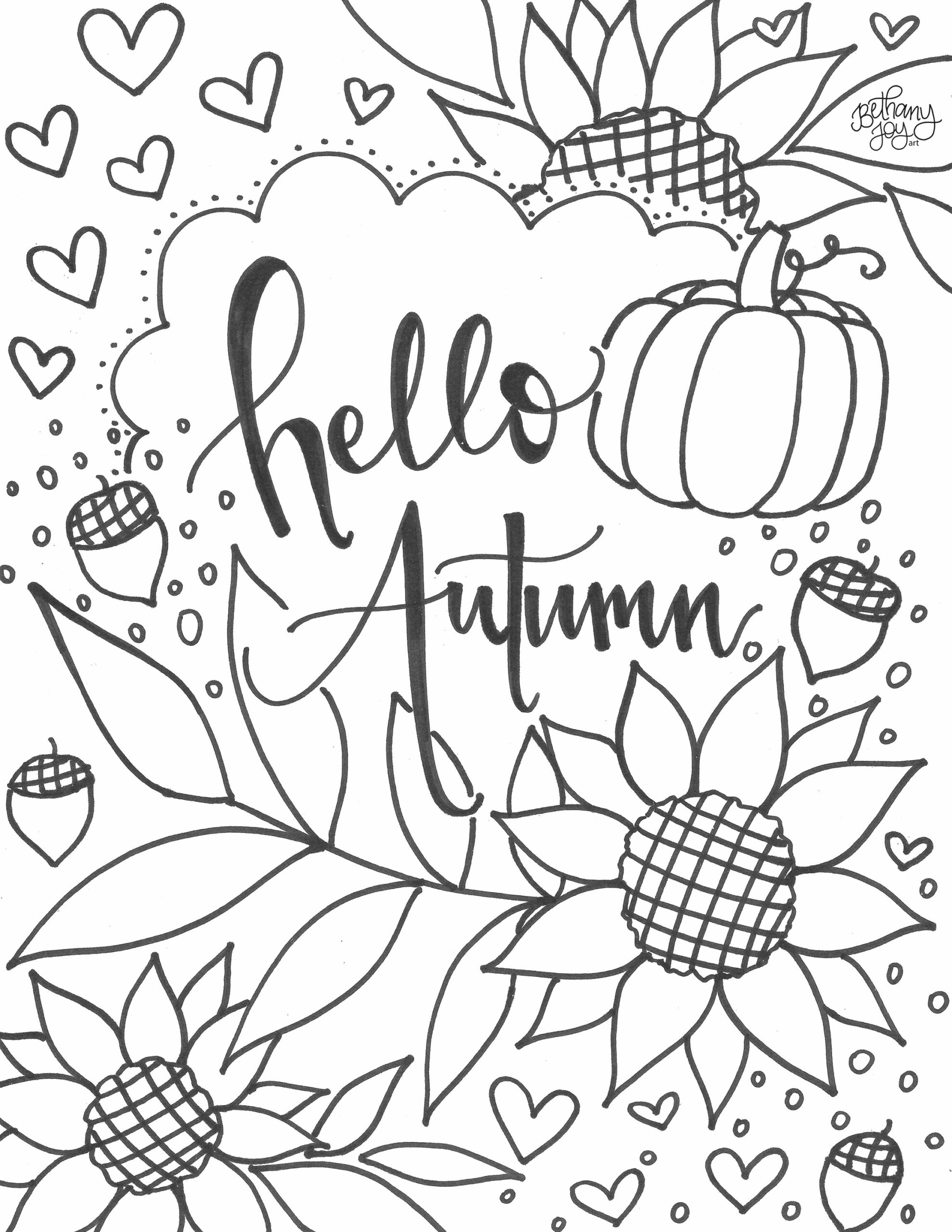 new autumn coloring pages pictures