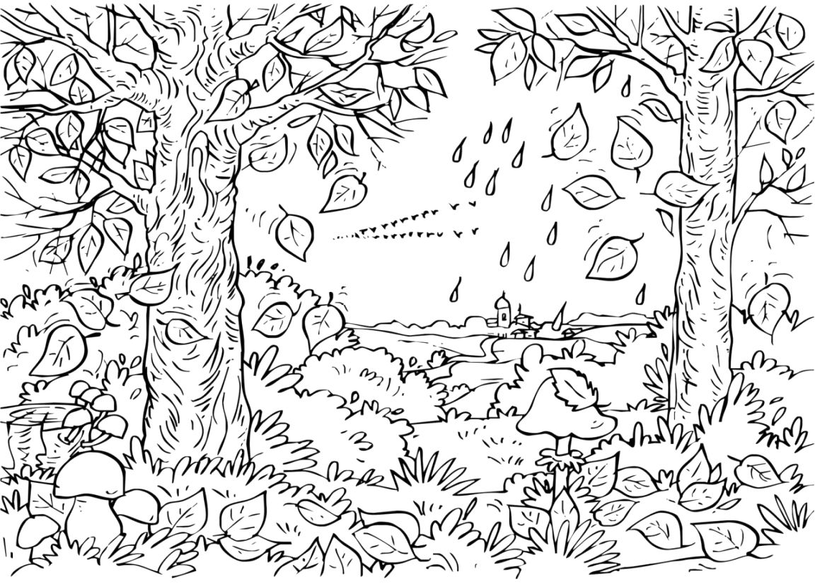 simple autumn coloring pages printable pdf